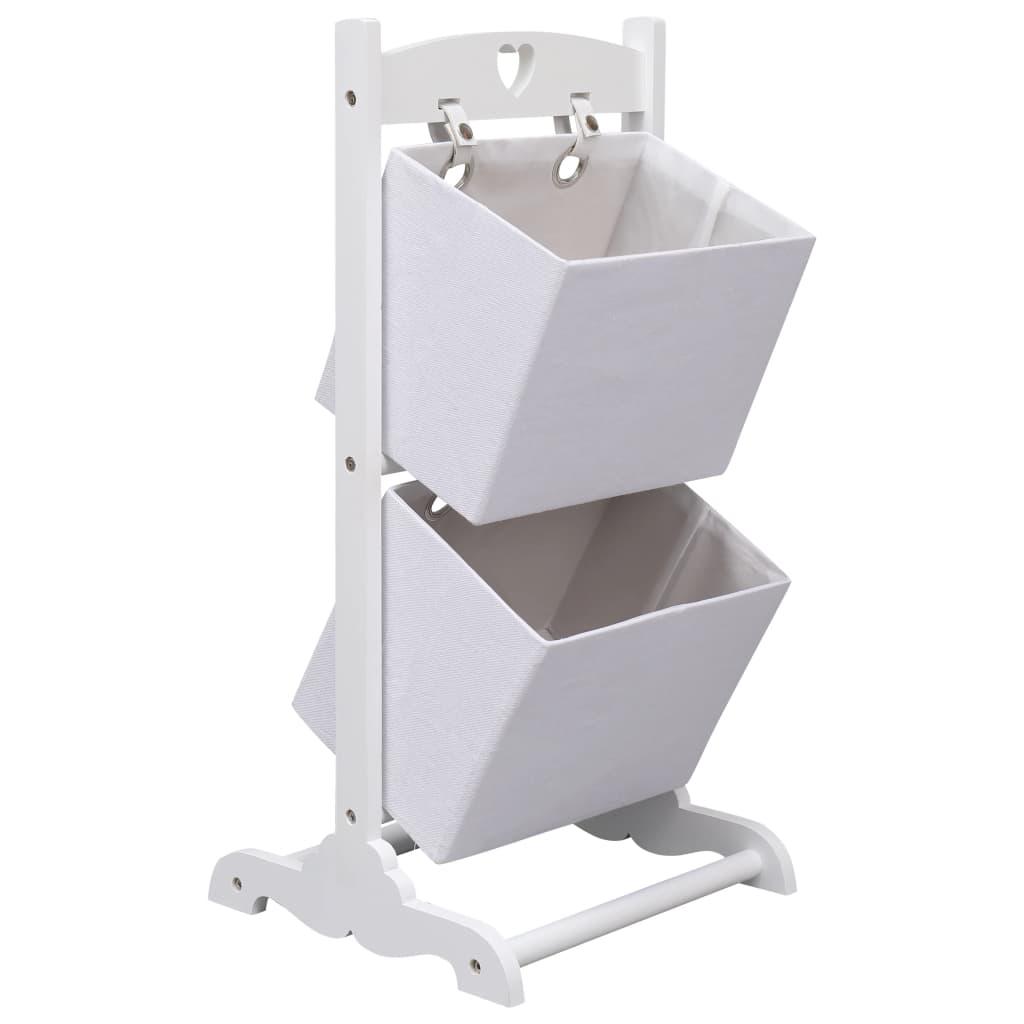 vidaXL Regál s 2 košíkmi biely 35x35x72 cm drevený