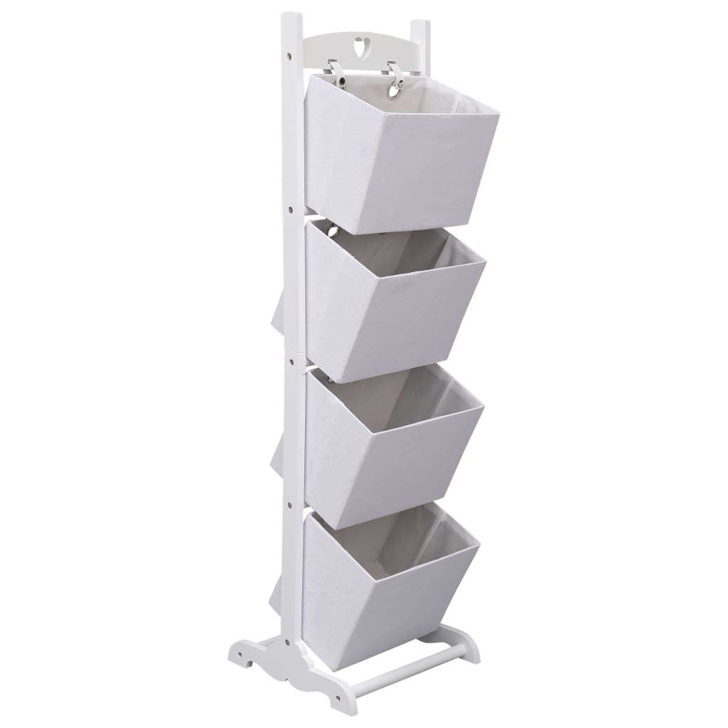 vidaXL Regál so 4 košíkmi biely 35x35x125 cm drevený