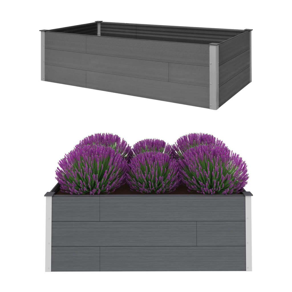 vidaXL Záhradný kvetináč sivý 200x100x54 cm WPC