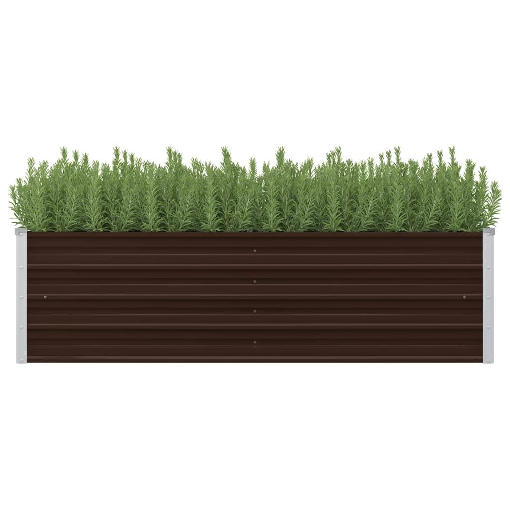 vidaXL Záhradný kvetináč hnedý 160x40x45 cm pozinkovaná oceľ