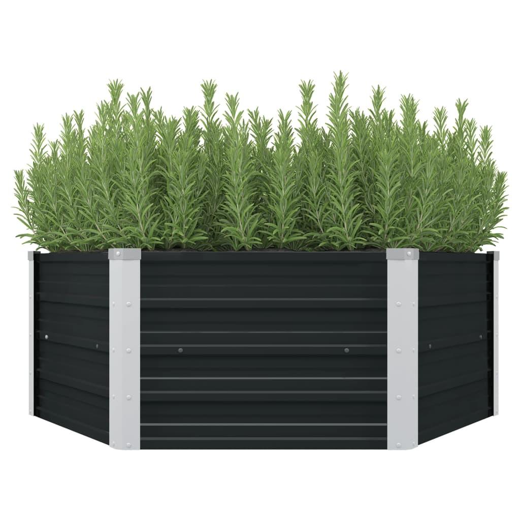 vidaXL Vyvýšený záhradný kvetináč antracitový 129x129x45 cm pozinkovaná oceľ