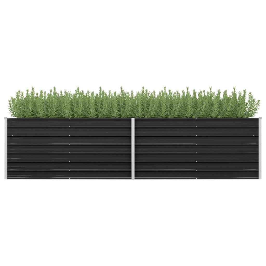 vidaXL Záhradný kvetináč antracitový 320x80x77 cm pozinkovaná oceľ