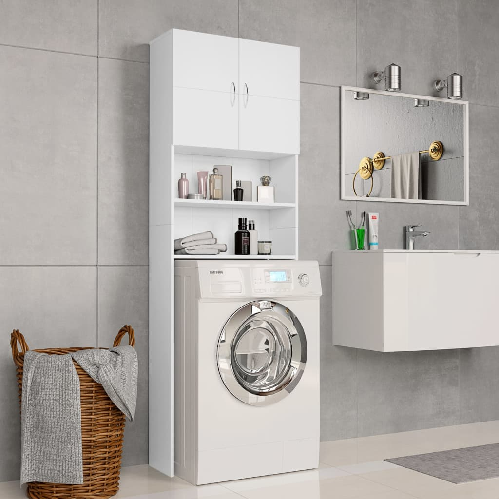 vidaXL Skrinka na práčku biela 64x25,5x190 cm drevotrieska