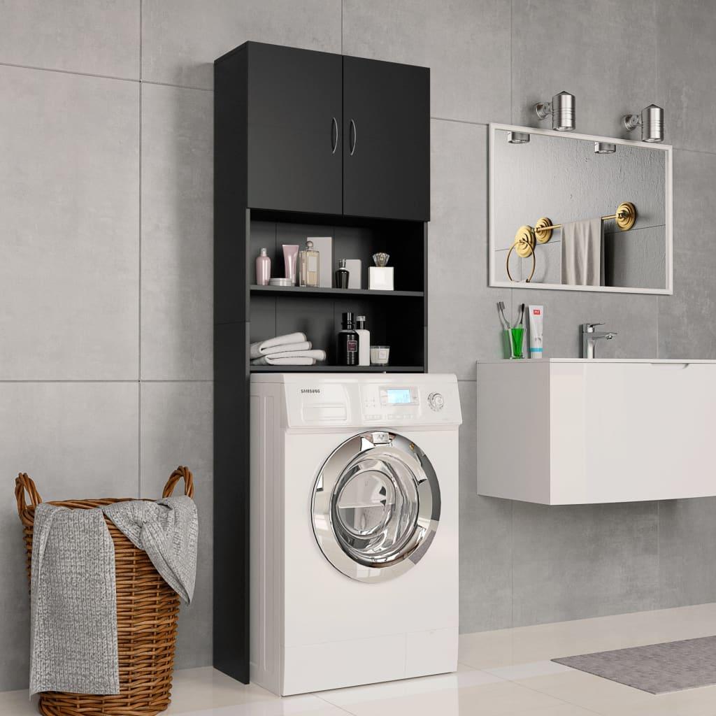 vidaXL Skrinka na práčku čierna 64x25,5x190 cm drevotrieska