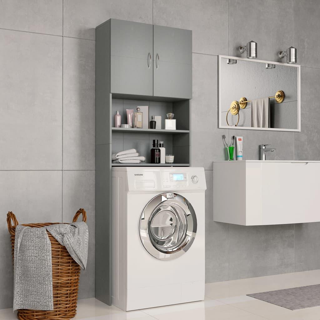 vidaXL Skrinka na práčku sivá 64x25,5x190 cm drevotrieska