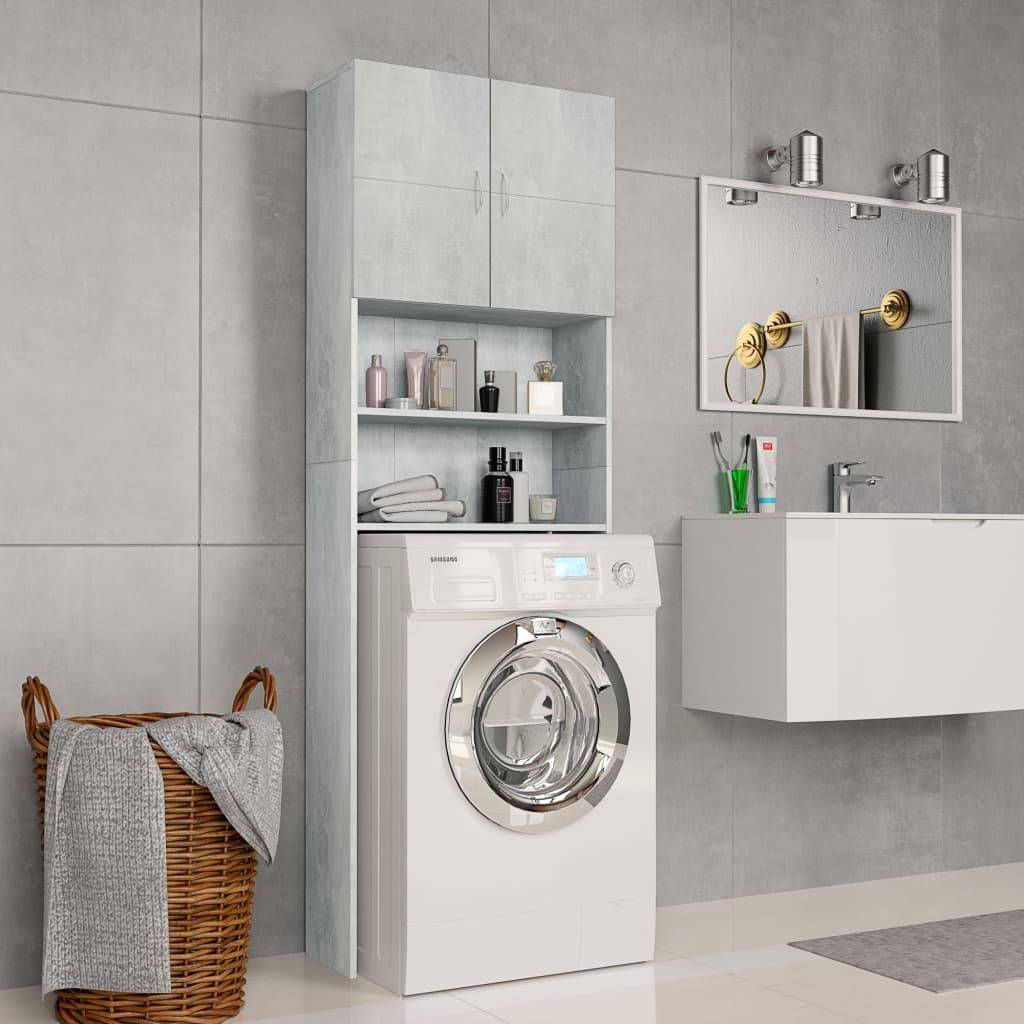 vidaXL Skrinka na práčku betónovo-sivá 64x25,5x190 cm drevotrieska