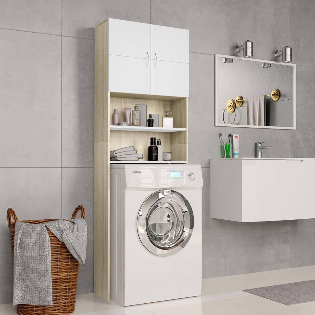 vidaXL Skrinka na práčku, biela+dub sonoma 64x25,5x190cm, drevotrieska