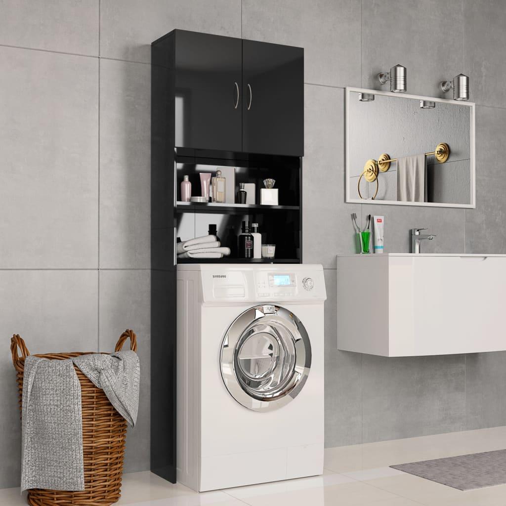 vidaXL Skrinka na práčku lesklá čierna 64x25,5x190 cm drevotrieska