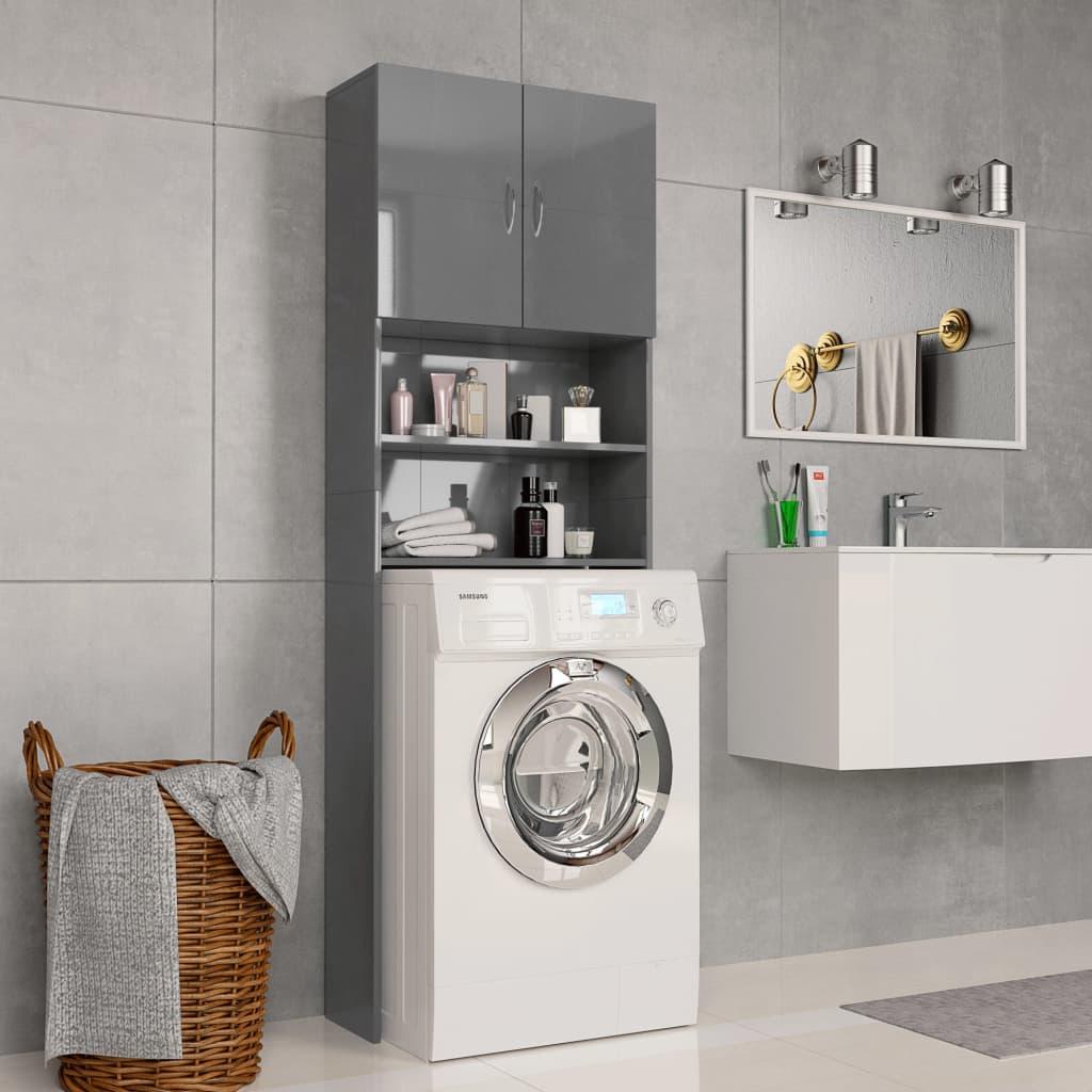 vidaXL Skrinka na práčku lesklá sivá 64x25,5x190 cm drevotrieska