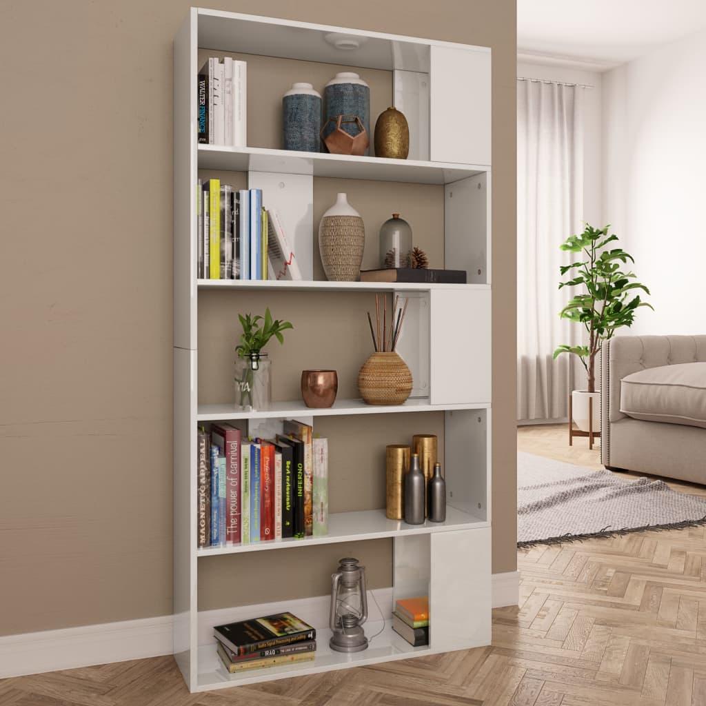 vidaXL Knižnica/deliaca stena lesklá biela 80x24x159 cm drevotrieska