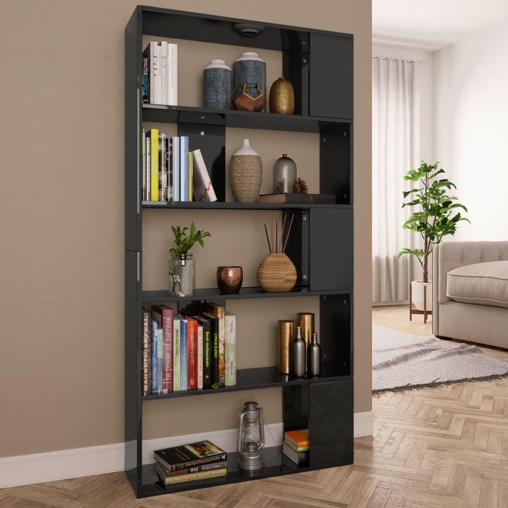 vidaXL Knižnica/deliaca stena lesklá čierna 80x24x159 cm drevotrieska