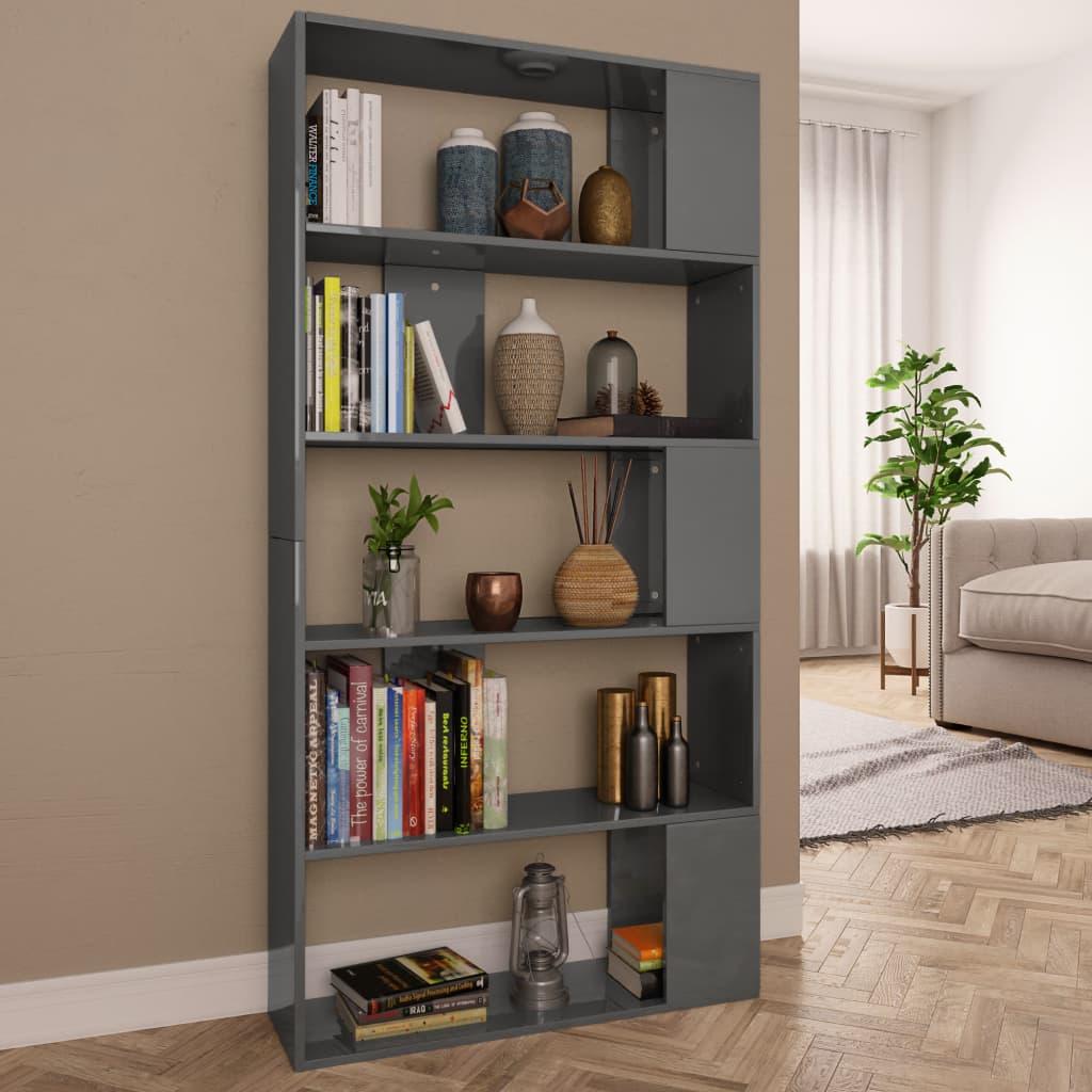 vidaXL Knižnica/deliaca stena lesklá sivá 80x24x159 cm drevotrieska