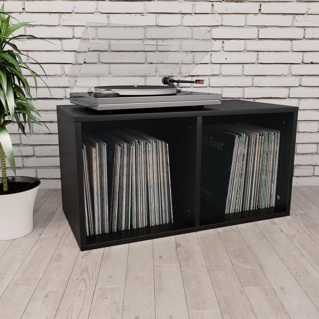 vidaXL Box na vinylové platne čierny 71x34x36 cm drevotrieska