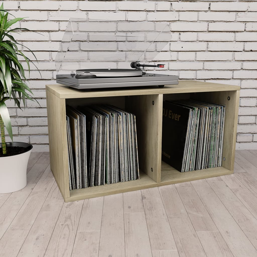 vidaXL Box na vinylové platne farba dubu sonoma 71x34x36 cm drevotrieska