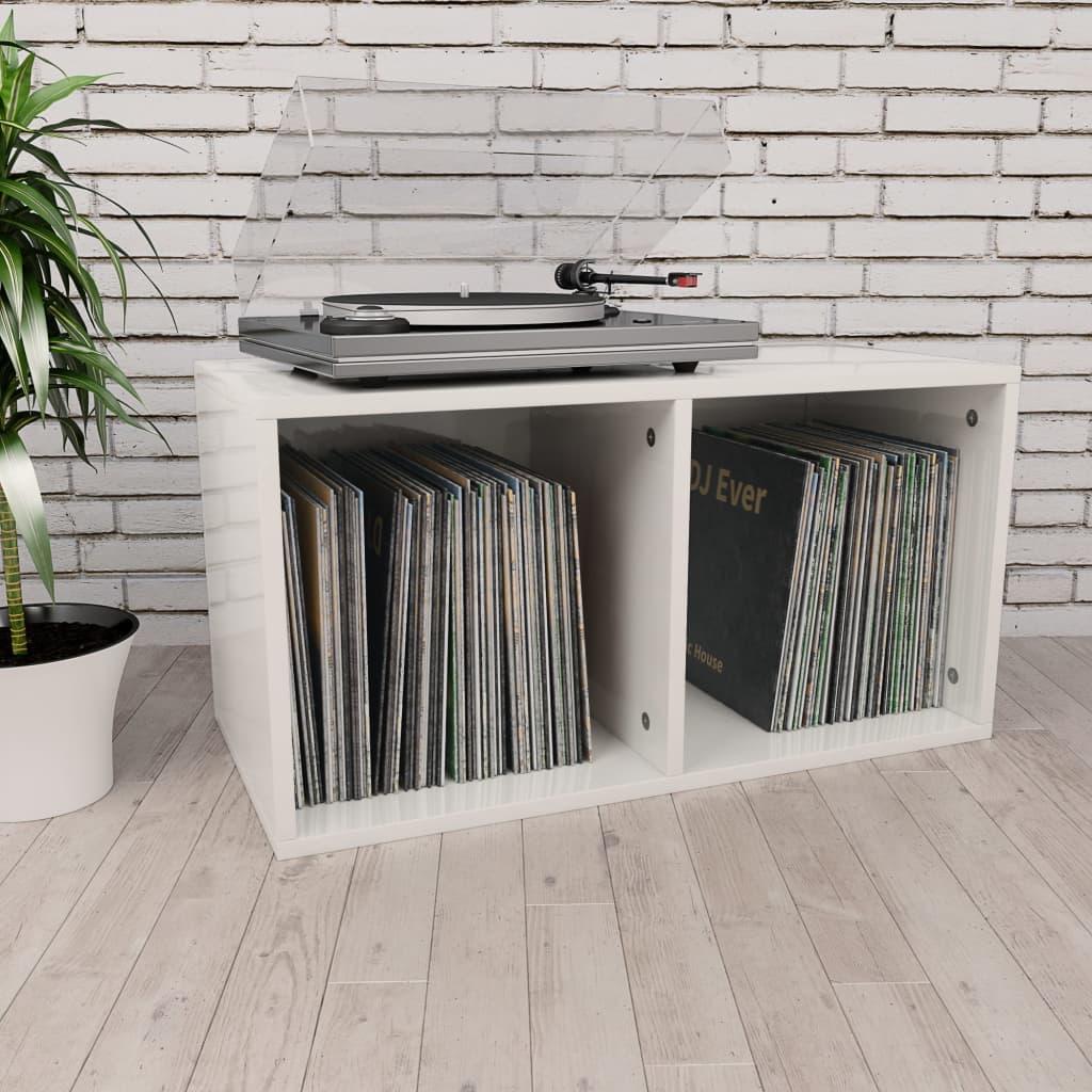 vidaXL Box na vinylové platne lesklý biely 71x34x36 cm drevotrieska