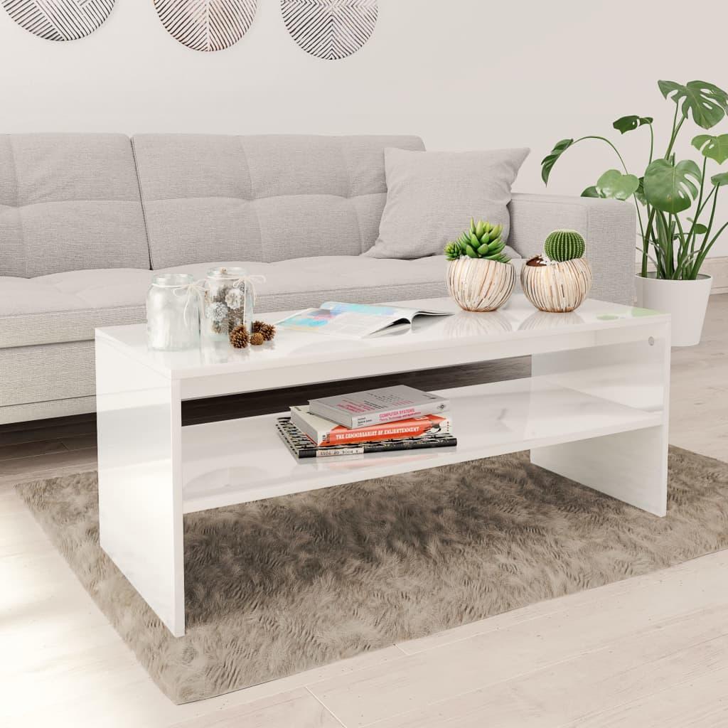vidaXL Konferenčný stolík, lesklý biely 100x40x40 cm, drevotrieska