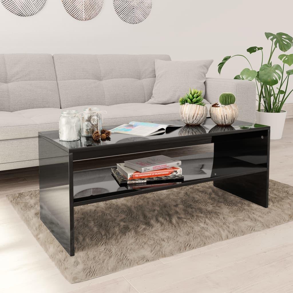 vidaXL Konferenčný stolík, lesklý čierny 100x40x40 cm, drevotrieska