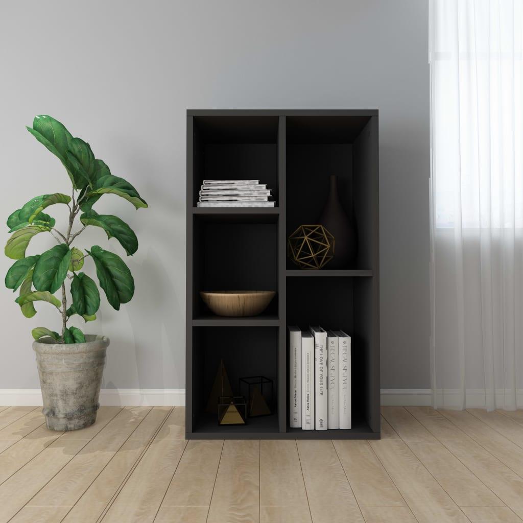 vidaXL Knižnica/komoda čierna 45x25x80 cm drevotrieska