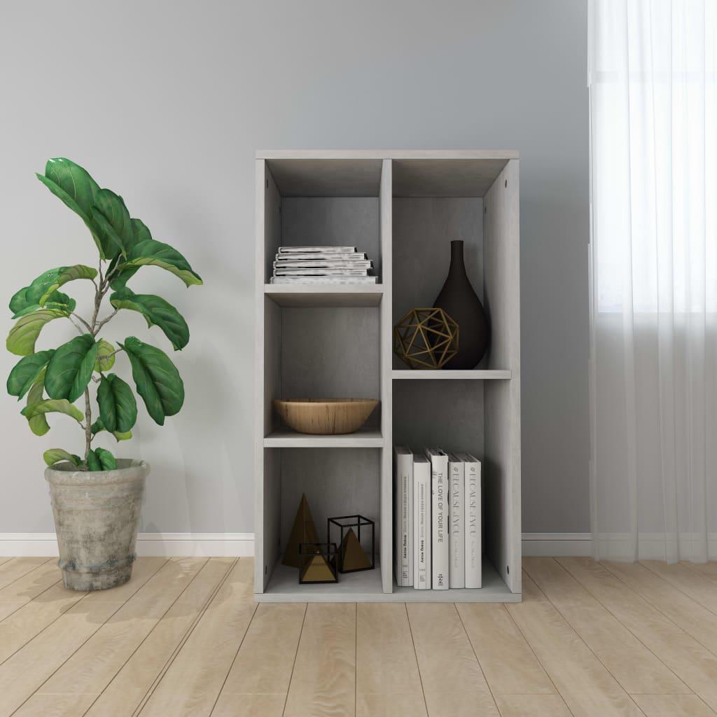vidaXL Knižnica/komoda betónovo-sivá 45x25x80 cm drevotrieska