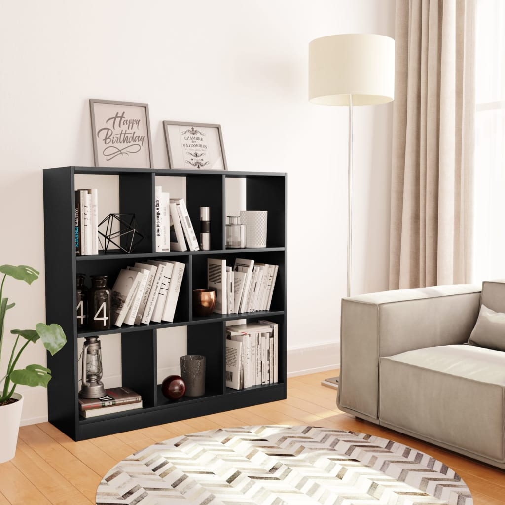 vidaXL Knižnica, čierna 97,5x29,5x100 cm, drevotrieska