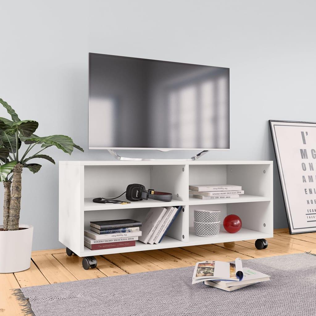 vidaXL TV skrinka s kolieskami biela 90x35x35 cm drevotrieska