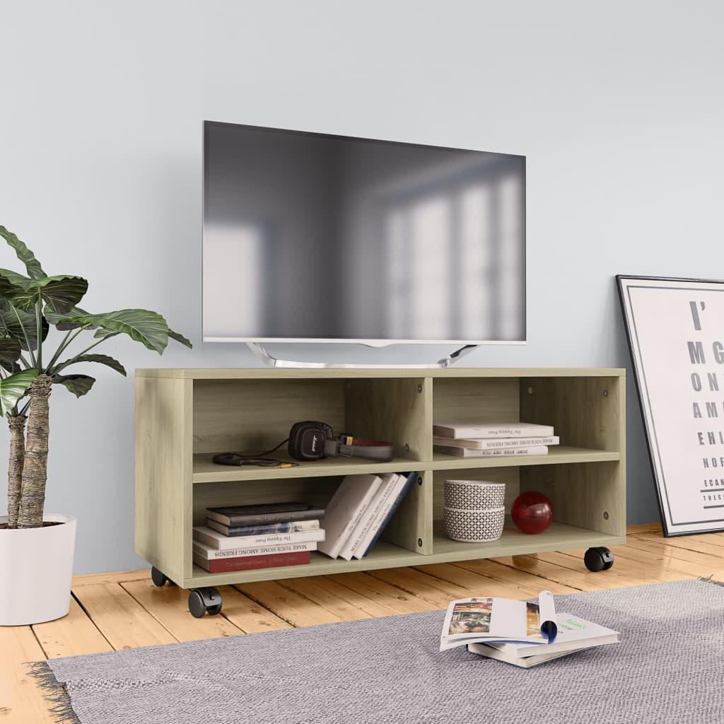 vidaXL TV skrinka s kolieskami farba dubu sonoma 90x35x35 cm drevotrieska