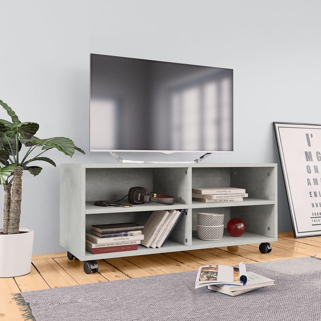 vidaXL TV skrinka s kolieskami betónová sivá 90x35x35 cm drevotrieska