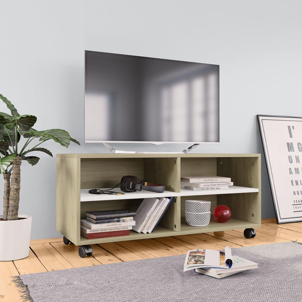vidaXL TV skrinka s kolieskami biela a farba dubu sonoma 90x35x35 cm drevotrieska