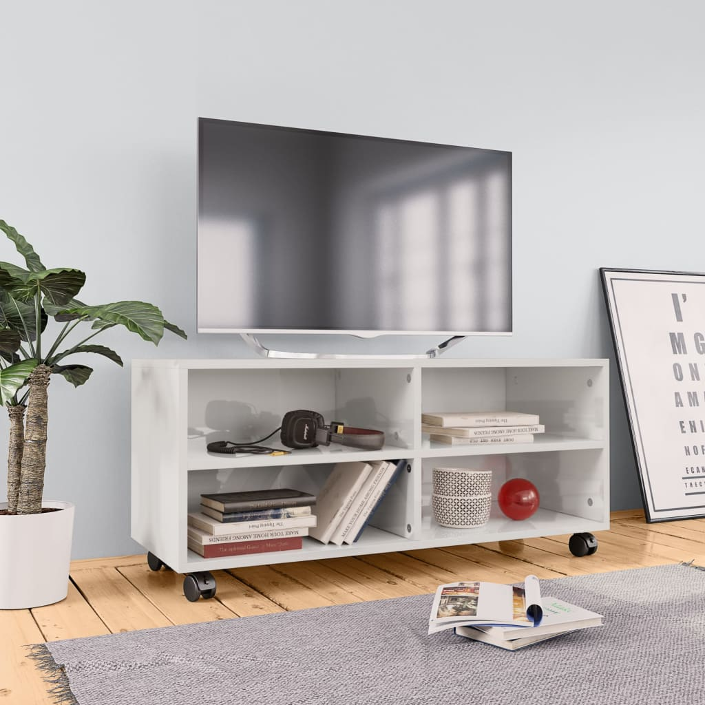 vidaXL TV skrinka s kolieskami lesklá biela 90x35x35 cm drevotrieska