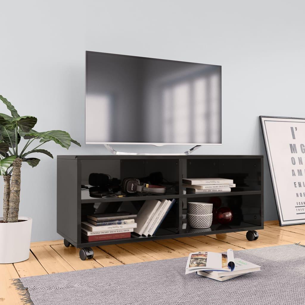 vidaXL TV skrinka s kolieskami lesklá čierna 90x35x35 cm drevotrieska