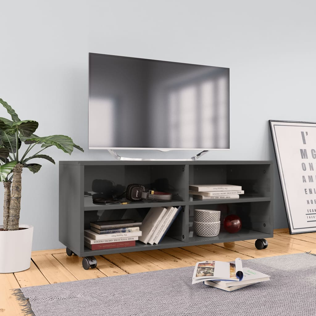 vidaXL TV skrinka s kolieskami lesklá sivá 90x35x35 cm drevotrieska