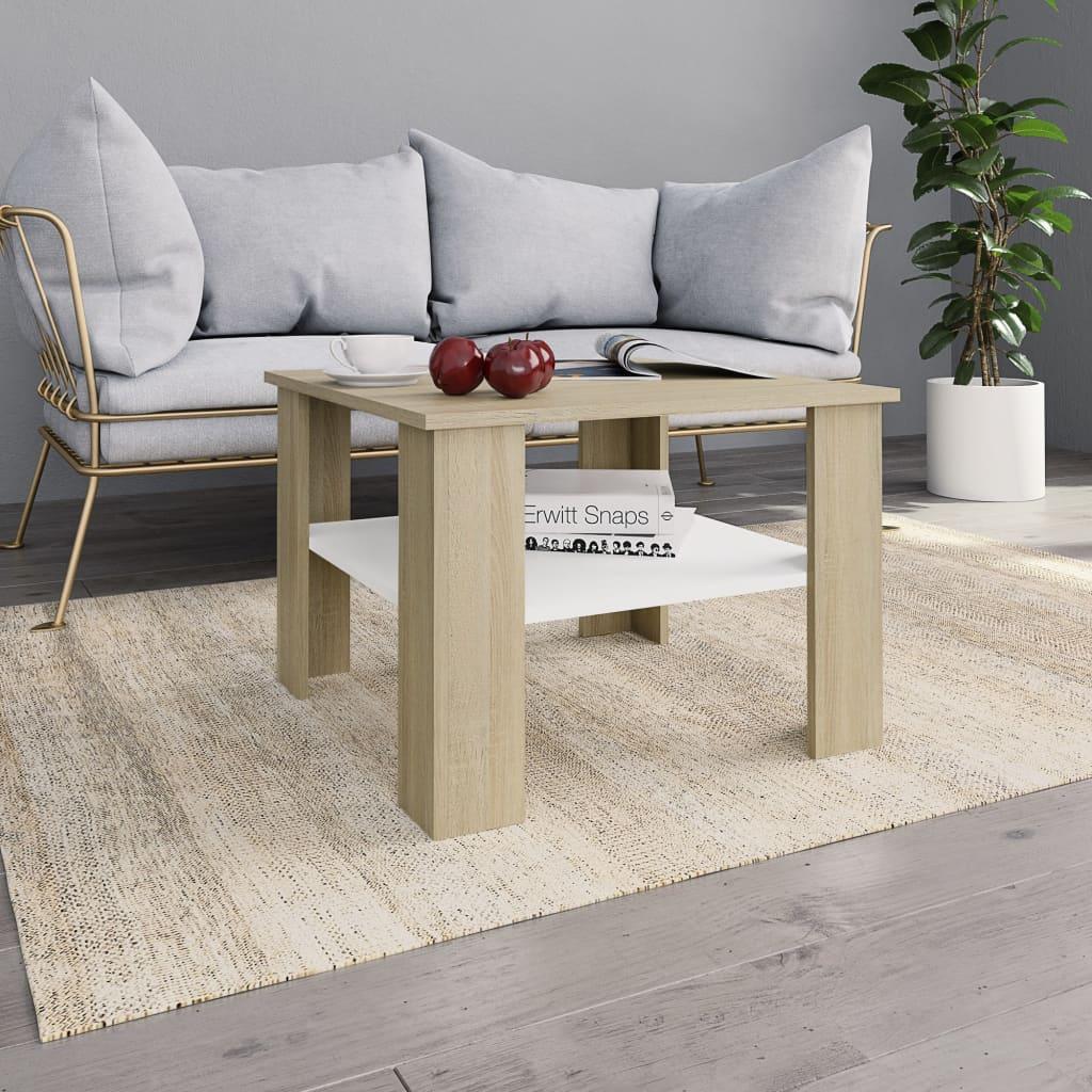 vidaXL Konferenčný stolík biely a farby dubu sonoma 60x60x42 cm drevotrieska