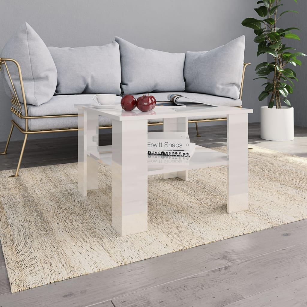vidaXL Konferenčný stolík lesklý biely 60x60x42 cm drevotrieska