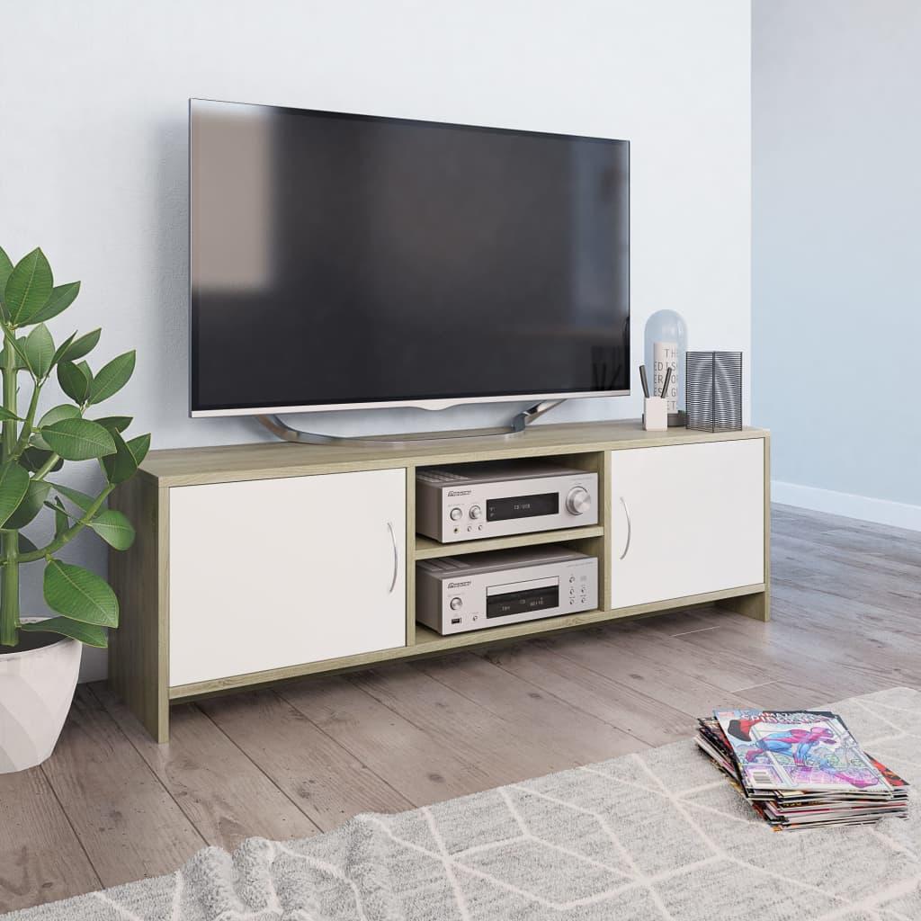 vidaXL TV skrinka biela a farba dubu sonoma 120x30x37,5 cm drevotrieska