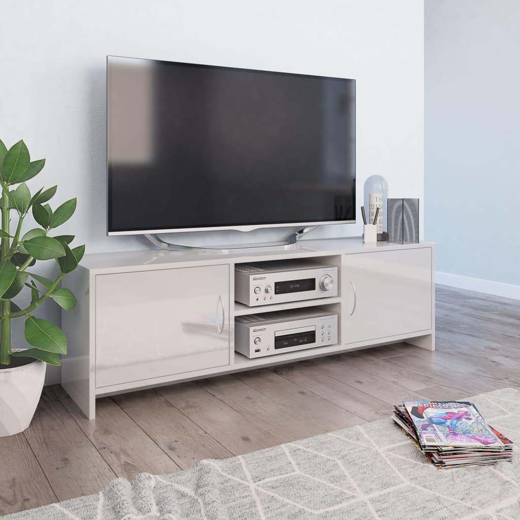 vidaXL TV skrinka lesklá biela 120x30x37,5 cm drevotrieska