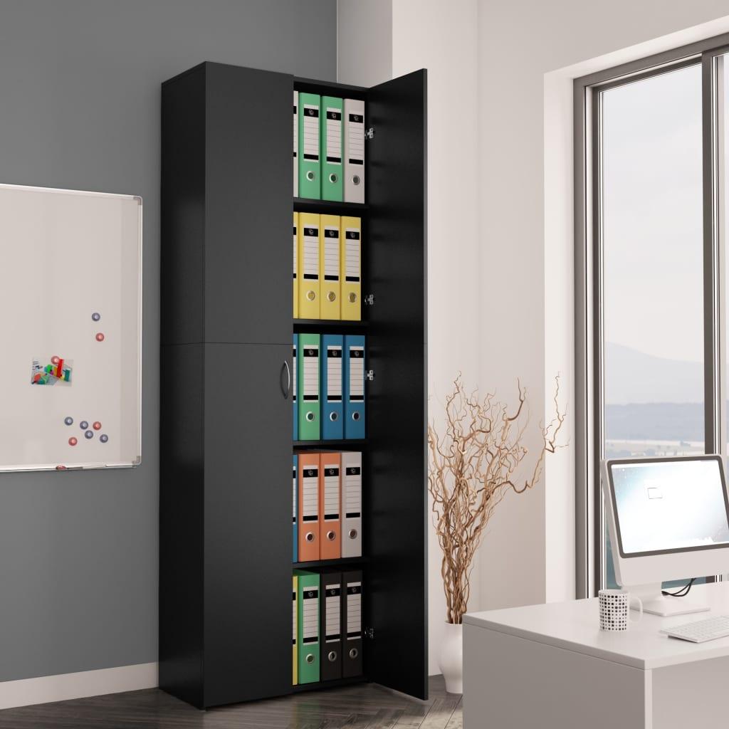 vidaXL Kancelárska skrinka čierna 60x32x190 cm drevotrieska