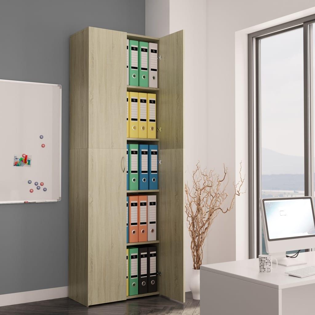 vidaXL Kancelárska skrinka farba dubu sonoma 60x32x190 cm drevotrieska
