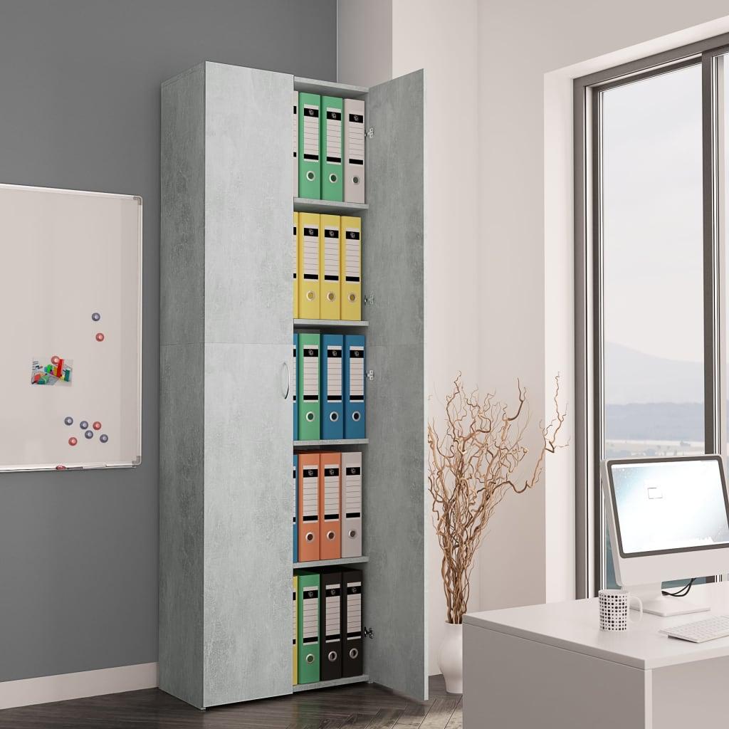 vidaXL Kancelárska skrinka betónovo-sivá 60x32x190 cm drevotrieska