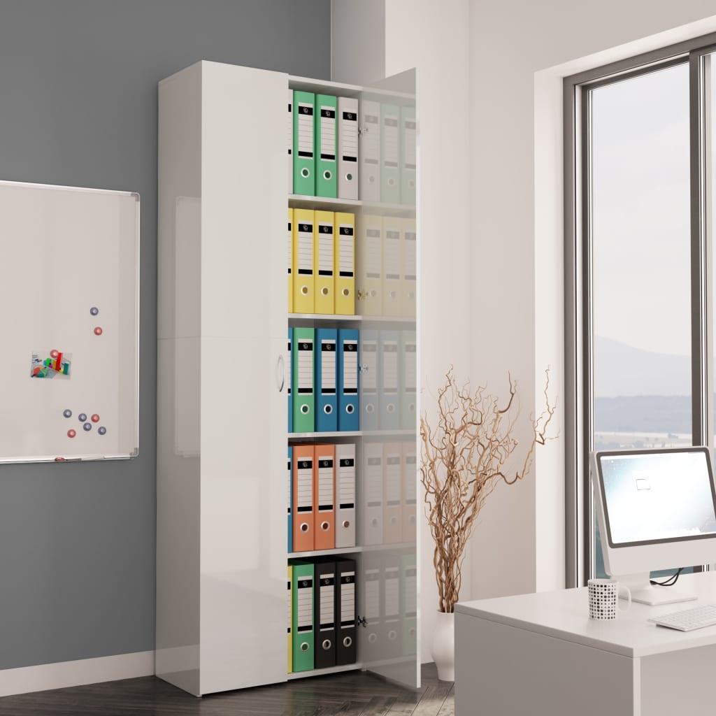vidaXL Kancelárska skrinka lesklá biela 60x32x190 cm drevotrieska