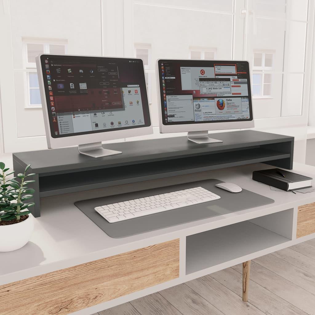 vidaXL Stojan na monitor sivý 100x24x13 cm drevotrieska