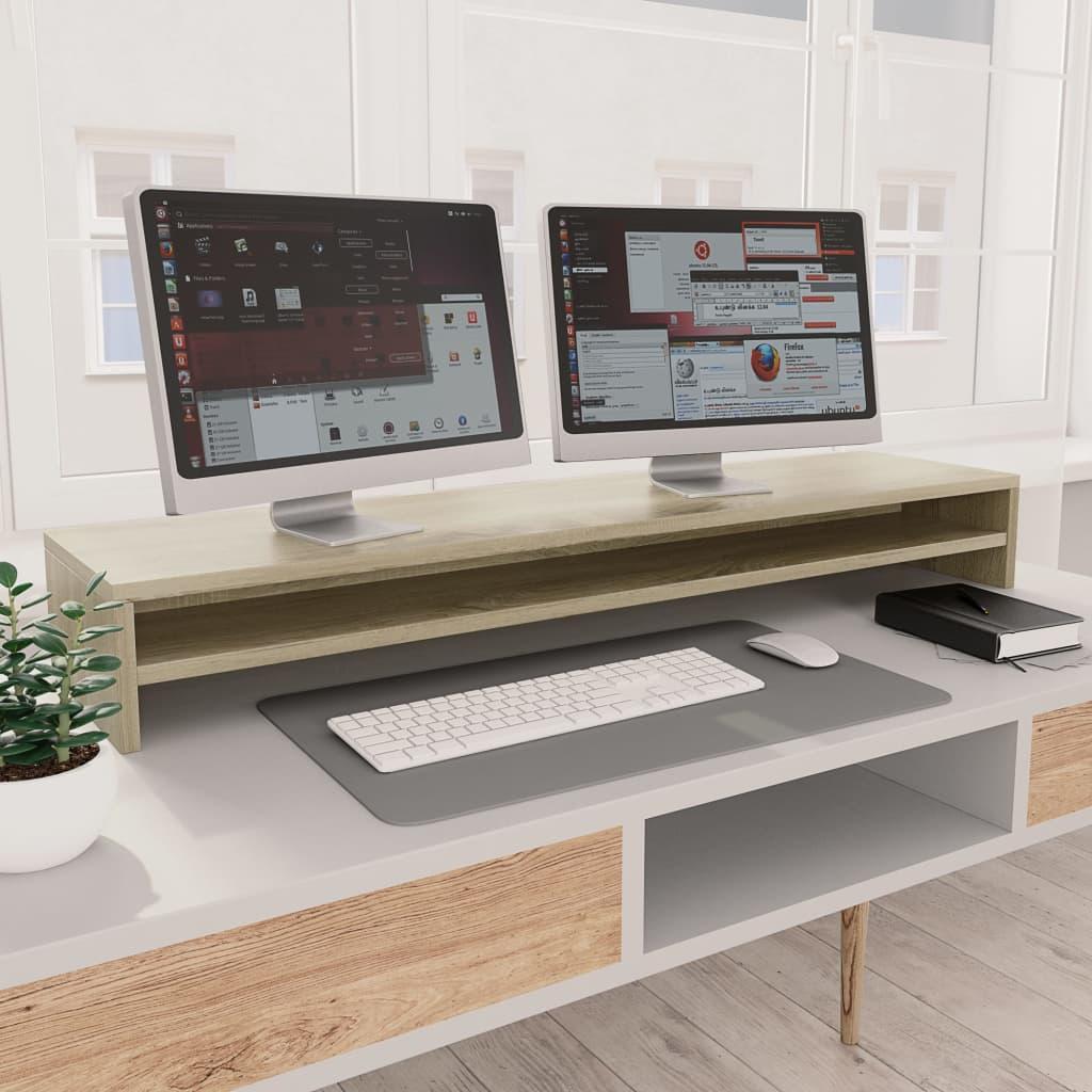 vidaXL Stojan na monitor farba dubu sonoma 100x24x13 cm drevotrieska