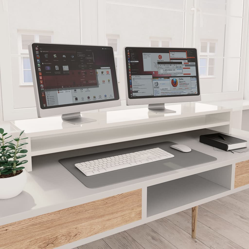 vidaXL Stojan na monitor lesklý biely 100x24x13 cm drevotrieska