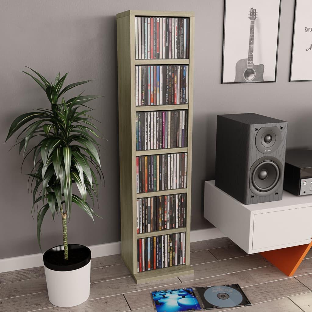 vidaXL Skrinka na CD farby dubu sonoma 21x16x88 cm drevotrieska
