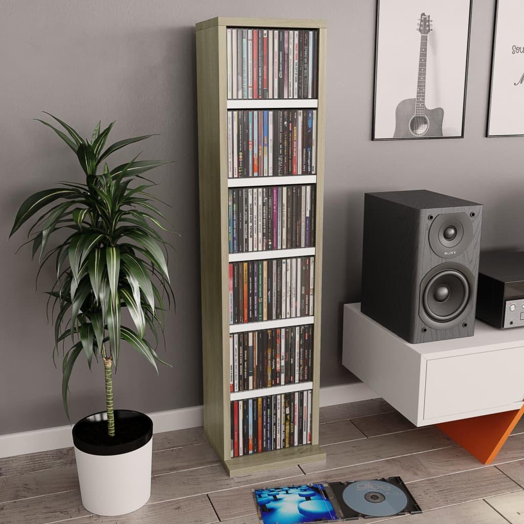 vidaXL Skrinka na CD biela a farby dubu sonoma 21x16x88 cm drevotrieska