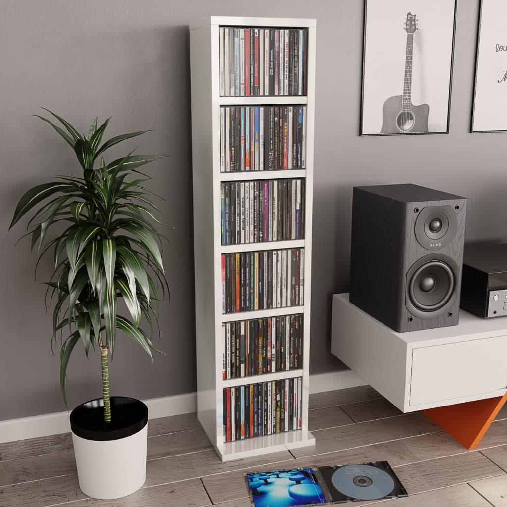 vidaXL Skrinka na CD lesklá biela 21x16x88 cm drevotrieska