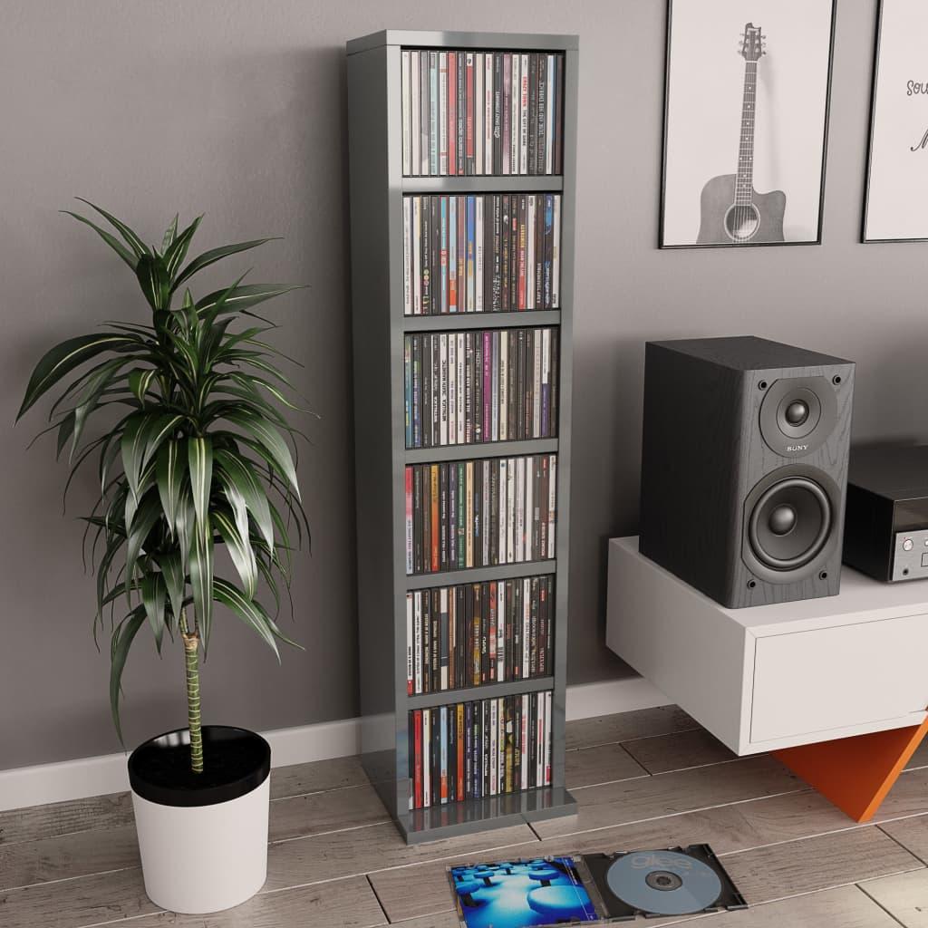 vidaXL Skrinka na CD lesklá sivá 21x16x88 cm drevotrieska