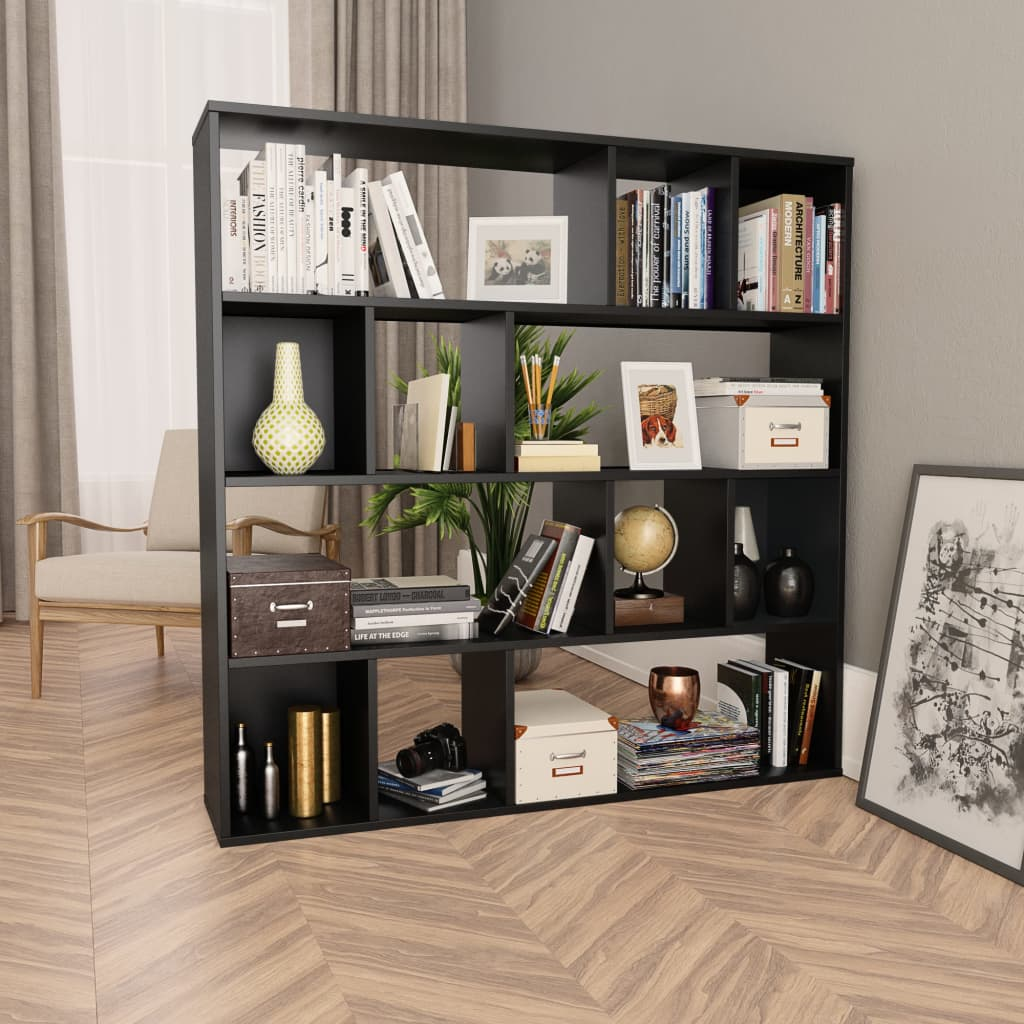 vidaXL Knižnica/deliaca stena čierna 110x24x110 cm drevotrieska