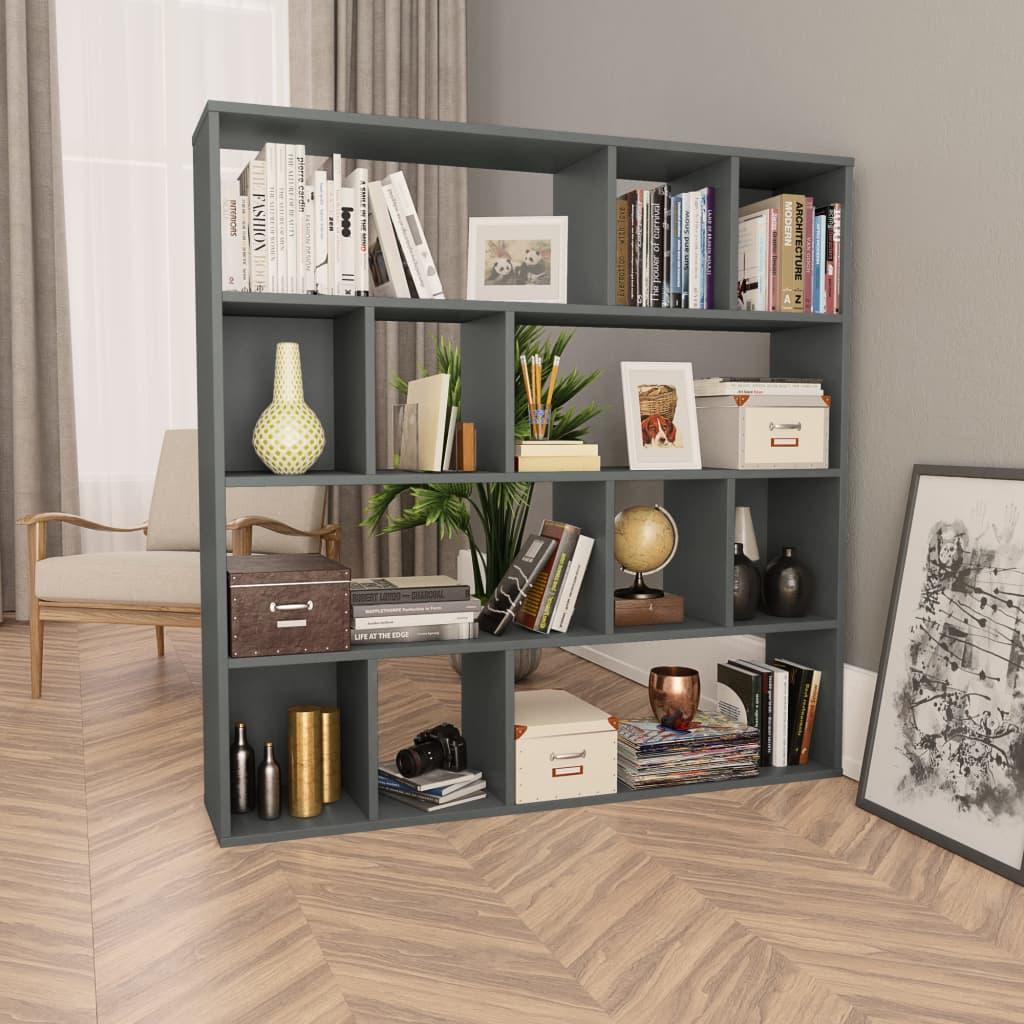 vidaXL Knižnica/deliaca stena sivá 110x24x110 cm drevotrieska