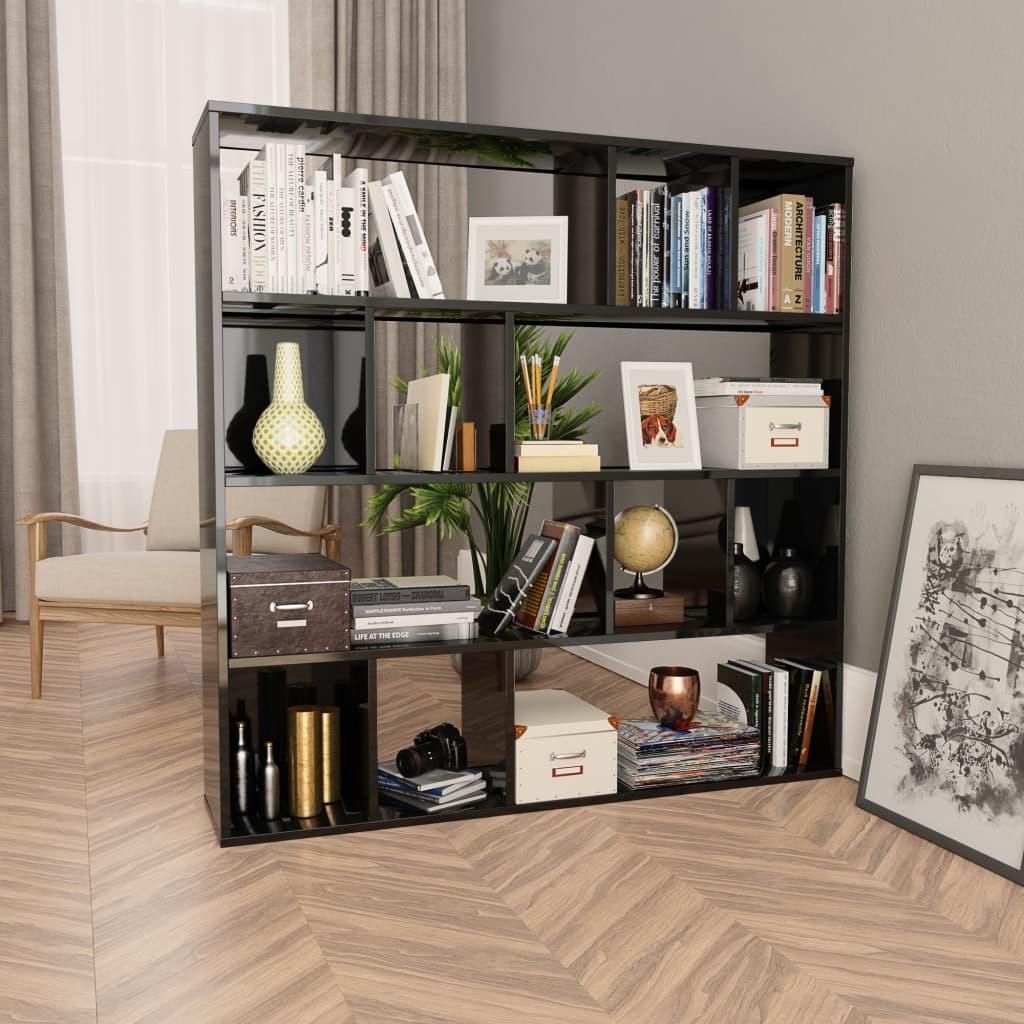 vidaXL Knižnica/deliaca stena lesklá čierna 110x24x110 cm drevotrieska