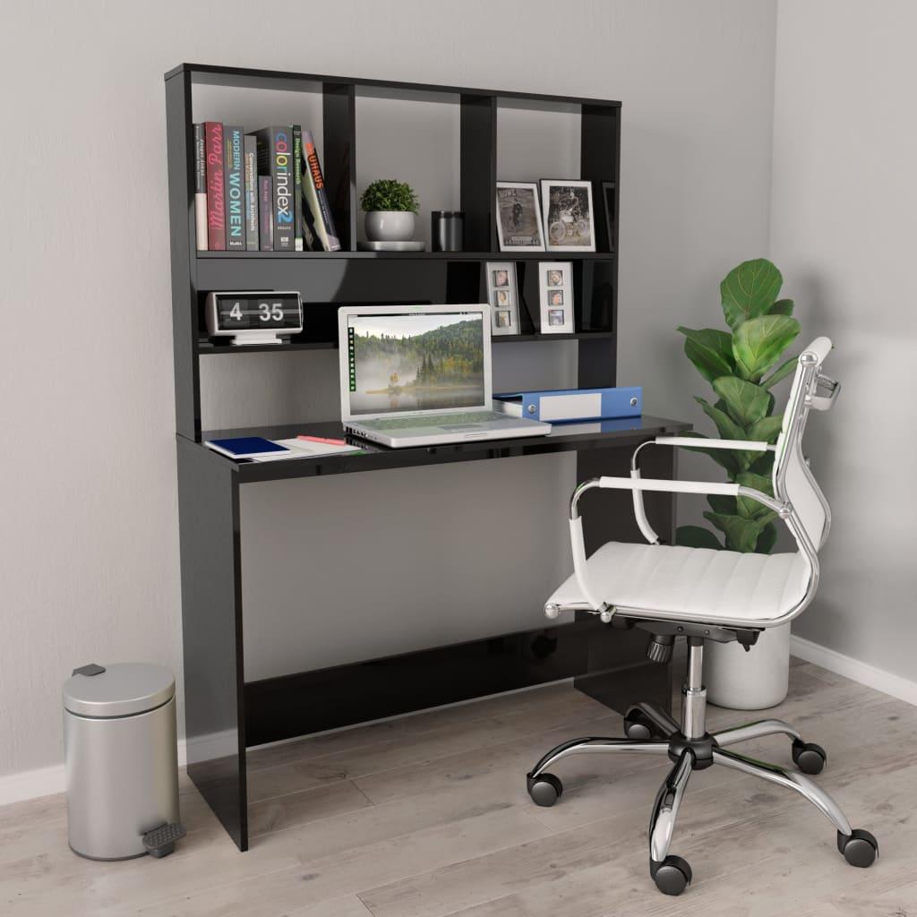 vidaXL Stôl s policami lesklý čierny 110x45x157 cm drevotrieska